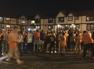Students flocked to Castle Court to celebrate the Syracuse victory.