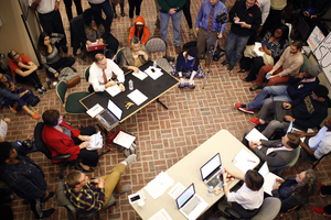 In November 2014, Chancellor Kent Syverud met with Syracuse University students during THE General Body sit-in to discuss their issues and grievances.