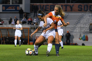 Syracuse was able to earn multiple free kicks throughout the night from Colgate's physicality. But that never translated into goals.